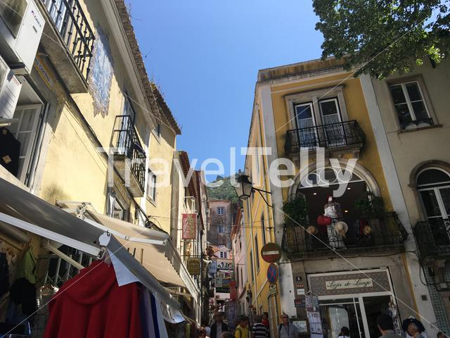 Narrow busy street in Sintra Portugal