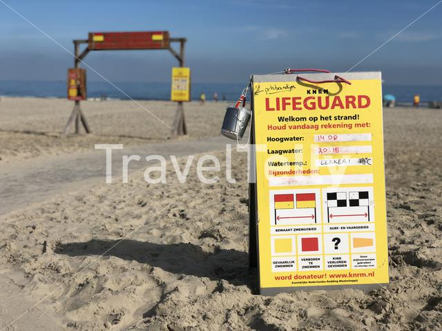 Lifeguard sign at the beach of Ameland island in Friesland The Netherlands