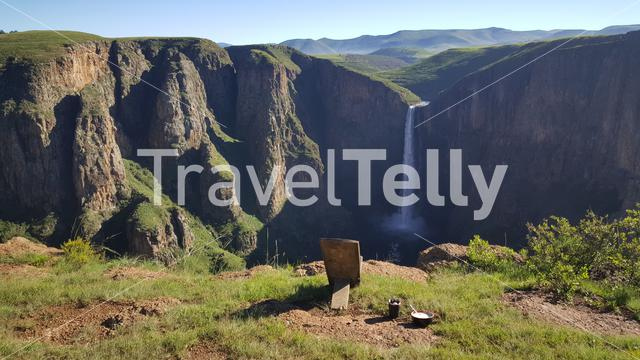 Chair to enjoy the beautiful scenery around at the Maletsunyane Falls in Lesotho Africa