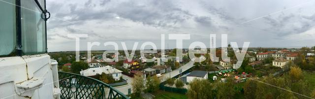 Panorama view from the light house over Sulina and the Danube Delta in Romania