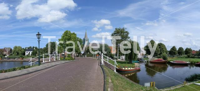 Panorama from the town Oudega in Friesland The Netherlands