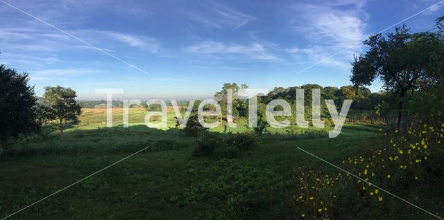 Panorama from morning landscape at farmland in Angat, Bulacan, Philippines
