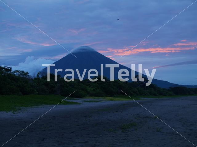 Sunset volcan Concepcion from the beach Ometepe island in Nicaragua