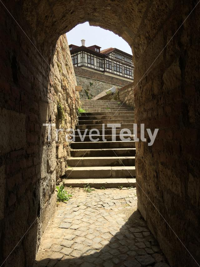 Gate and stairs in the King Gate at Kalemegdan Fortress in Belgrade Serbia