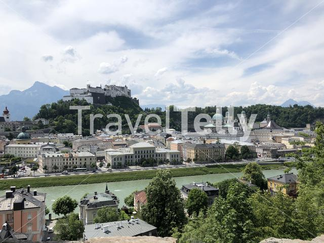 View of the Kapuzinerberg a hill on the eastern bank of the Salzach river in Salzburg, Austria