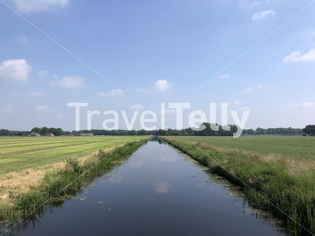Farmland and a canal around Hardenberg in Overijssel, The Netherlands
