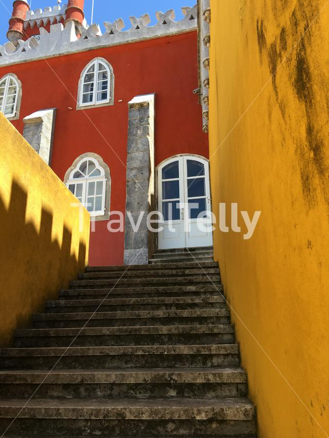 Stairs at the Pena Palace in Sintra Portugal