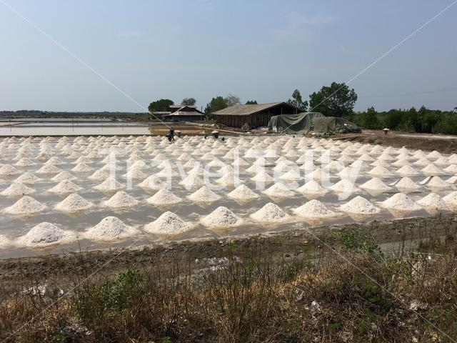 Salt factory inbetween Tha Chalom and Samut Sakhon Thailand