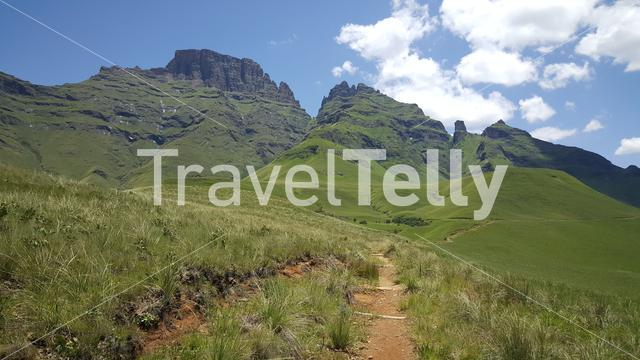 Hiking path around Natal Drakensberg National Park in South Africa in South Africa