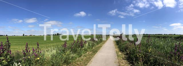 Panorama from cycle path through Friesland The Netherlands