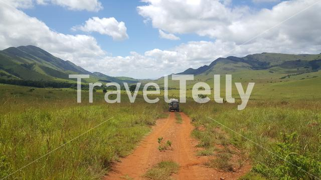 Driving through Lekgalameetse Provincial Park in South Africa
