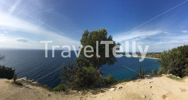 panorama from agios Ioannis Beach in Sithonia Greece