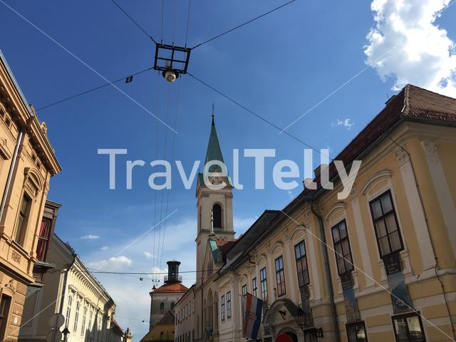 Cathedral Saint Cyril and Methodius and the Lotrščak Tower in the old town of Zagreb Croatia