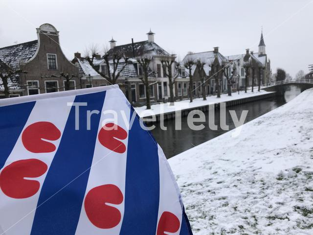 Frisian flag in Sloten during winter