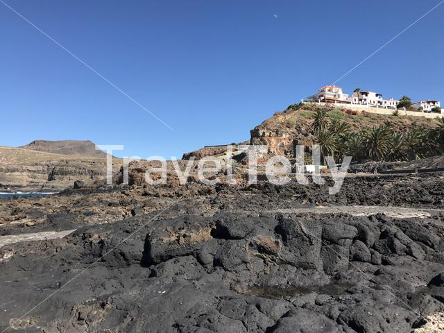 Houses on the hill at Agaete Gran Canaria Canary Islands Spain