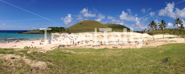 Panorama from people at Anakena beach at the Easter Island, Rapa Nui