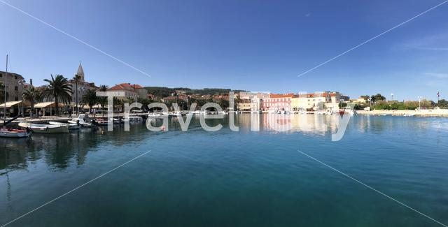 Panorama from the harbor of Supetar on Brac island in Croatia
