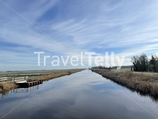 Canal around Tijnje during a winter day in Friesland The Netherlands