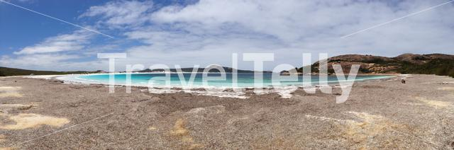 Lucky Bay beach panorama with mother and baby kangaroo at Cape Le Grand National Park Australia