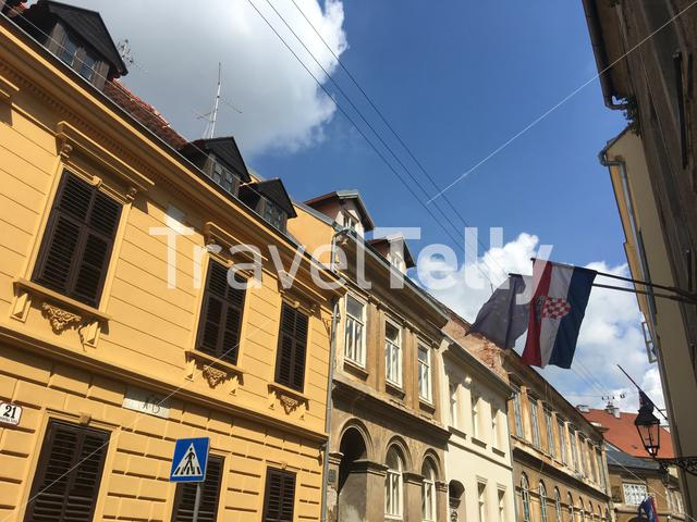 European and Croatian flag in the old town of Zagreb Croatia
