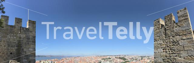 Panorama from Castelo de S. Jorge overlooking Lisbon Portugal