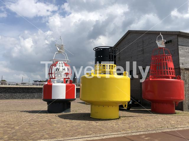 Big buoys in the harbor of Harlingen, Friesland The Netherlands