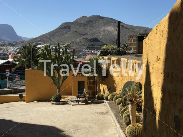 Small square with cactus plants in Galdar Gran Canaria Canary Islands Spain