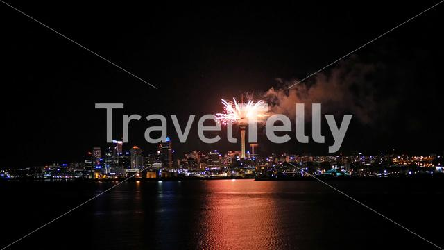 Auckland sky tower fireworks in New Zealand