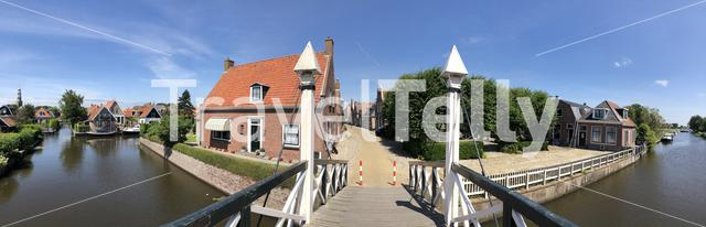 panorama from a bridge over a canal in Hindeloopen, Friesland The Netherlands