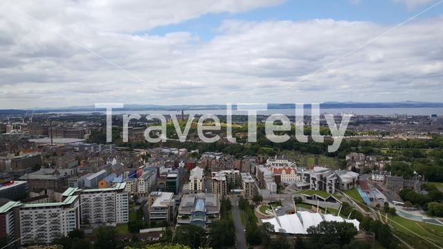 View over Edinburgh from Holyrood Park a royal park in Scotland