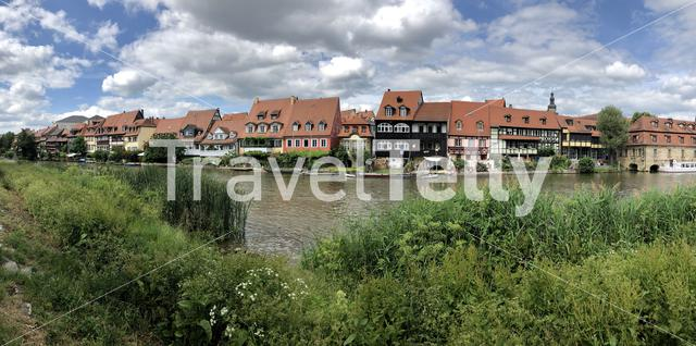 Panorama from houses next to the Linker Regnitzarm river in Bamberg Germany