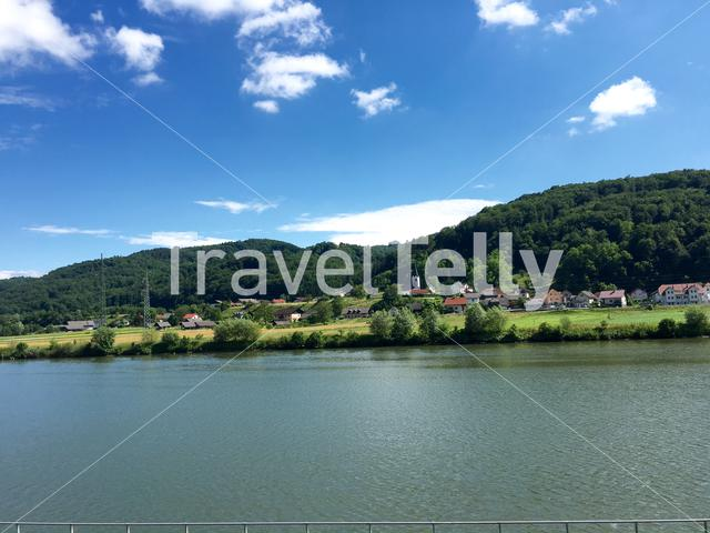 Sava river and the village Log in Slovenia