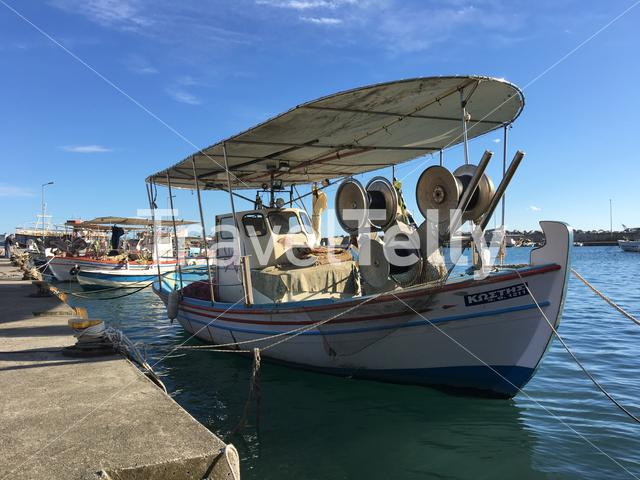 Fishing boats in the harbour of Platamon Greece