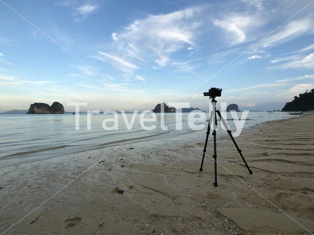 Camera on the beach of Koh Ngai island in Thailand
