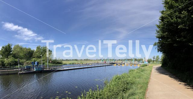 River lock at the Old ijssel around Doetinchem in Gelderland The Netherlands