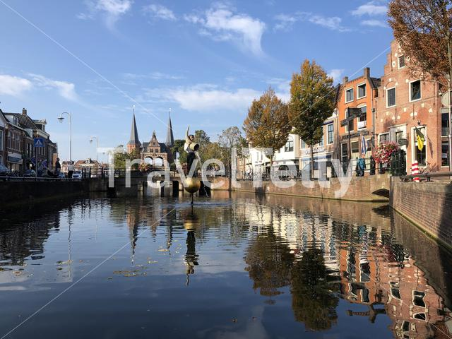 Fountain in front of the Waterpoort in Sneek during autumn, Friesland The Netherlands