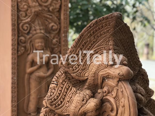 A Khmer style sculpture in Phanom Sawai Forest Park in Thailand