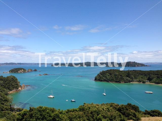 Lookout from Urupukapuka Island the largest island in the Bay of Islands of New Zealand