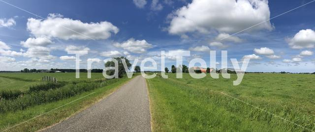 Panorama from a road towards Cornjum in Friesland The Netherlands