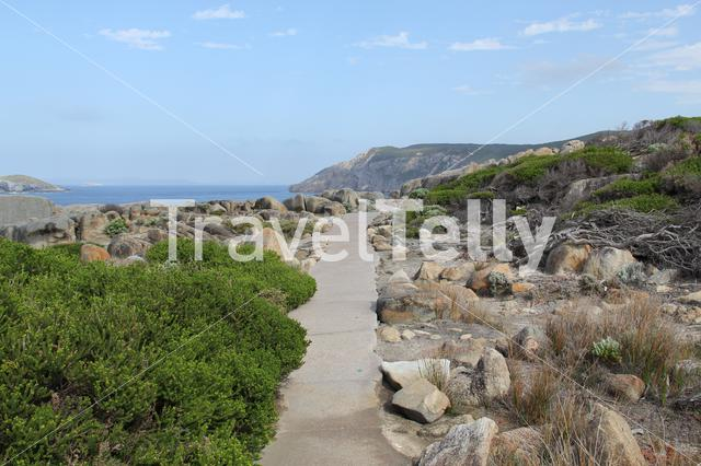 Footpath to the Gap a stone formation in Torndirrup National Park Albany Western Australia