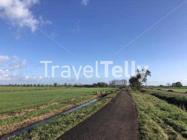 Bicycle path around Langelille in Friesland, The Netherlands