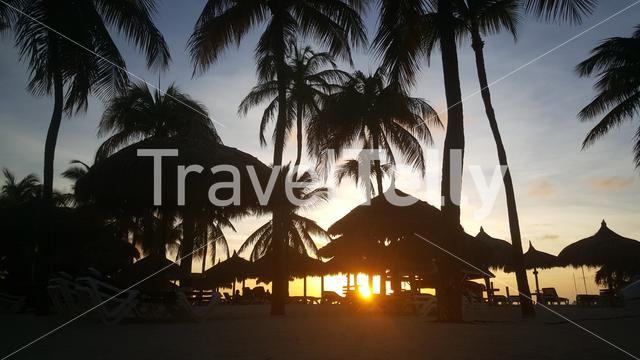 Sunset at Palm Beach a tourism district about 6 kilometers northwest of Oranjestad, Aruba