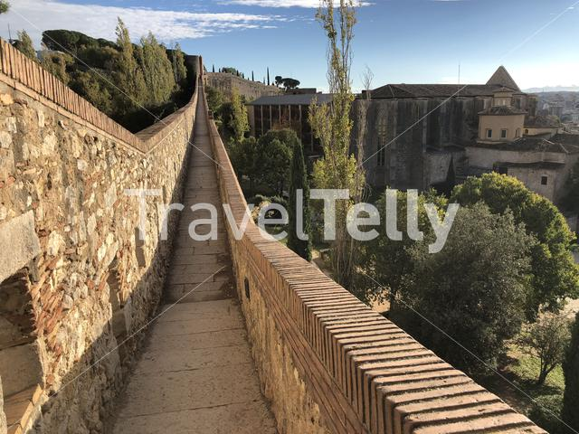 The city wall of Girona in Spain