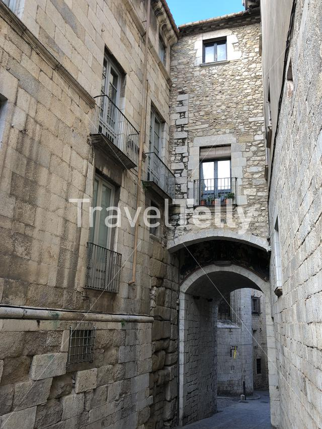 Gate in the old town of Girona Catalonia, Spain