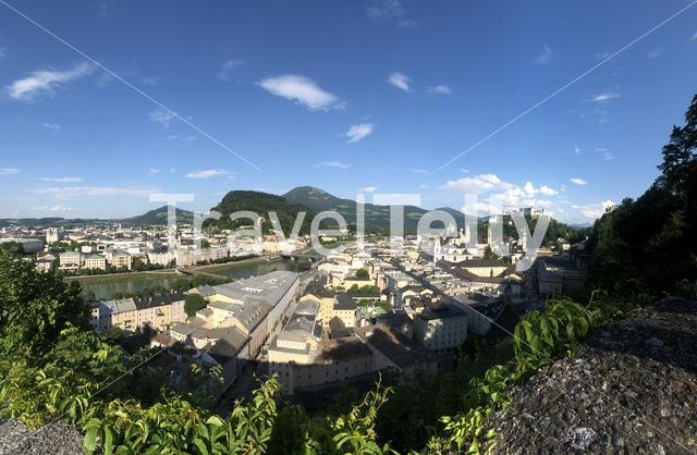 Panorama from the old town of Salzburg, Austria
