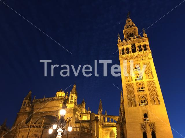 Catedral de Sevilla at night in Seville Spain