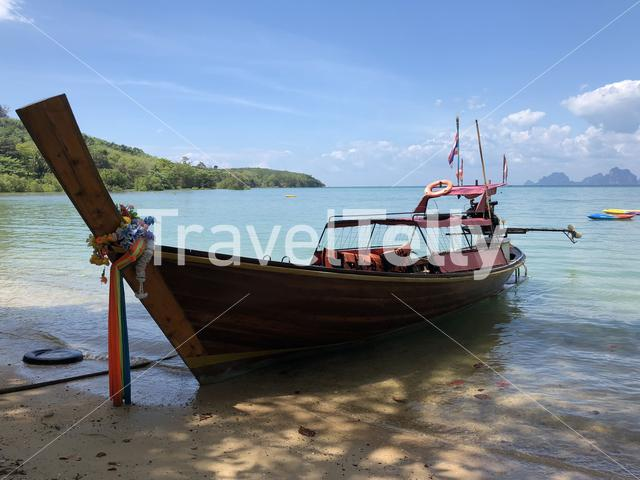 Long-tail boat on Koh Mook island in Thailand