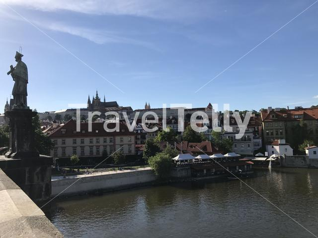 View from the charles bridge over the vltava river in Prague Czech Republic