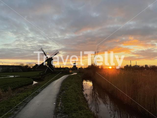 Windmills during sunset in IJlst, Friesland The Netherlands