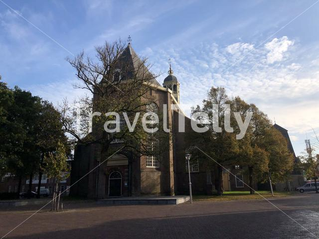 Martini church in Sneek during autumn, Friesland The Netherlands
